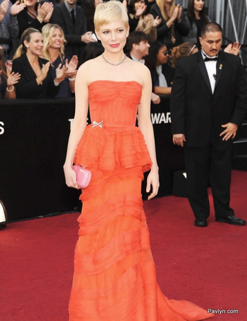 2012 Oscars Best Dressed Michelle Williams in red Louis Vuitton gown