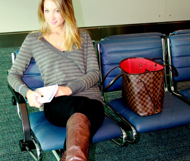 Waiting For Our Flight So Comfy In A Striped Sweater And Tights