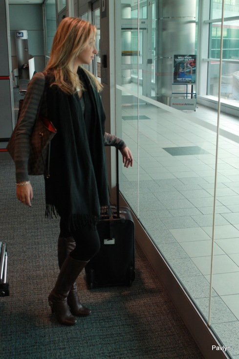 Airport Style is easy with brown boots, tights and oversized cashmere scarf