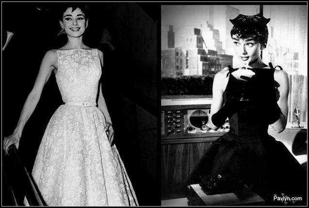 Audrey wears white lace to the Academy awards and looks chic in a full skirted LBD