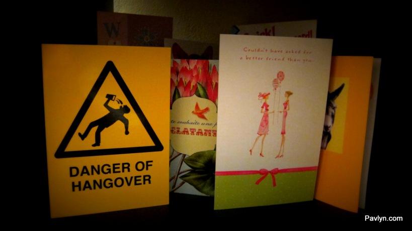 Birthday Cards arrangement on Bookshelf