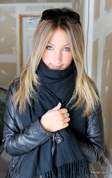 Black Danier leather jacket and oversized black scarf