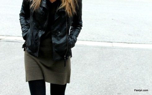 Danier black biker jacket with Michael Kors sweater dress