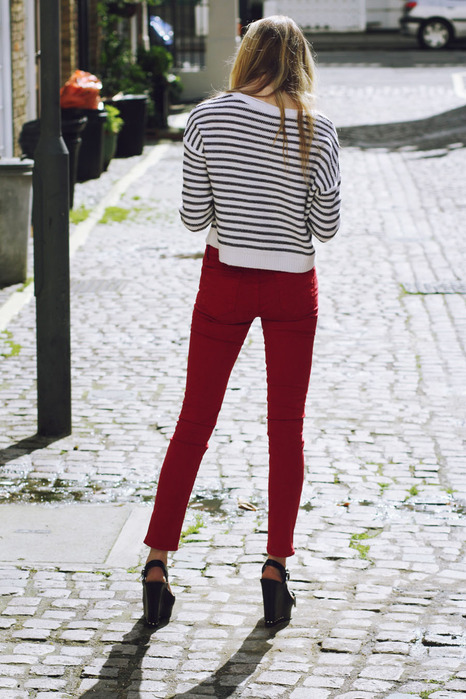 J Brand 811 Mid-Rise Skinny jeans in bright red and striped nautical top