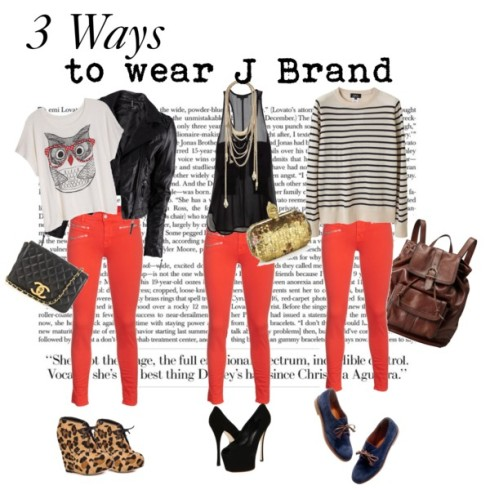 How to wear J Brand Zoey Skinny jeans in Lipstick Red