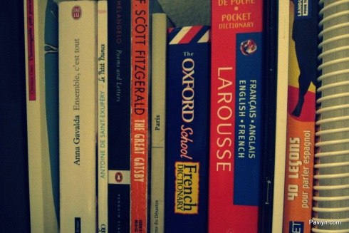Language books with French novels and travel guides