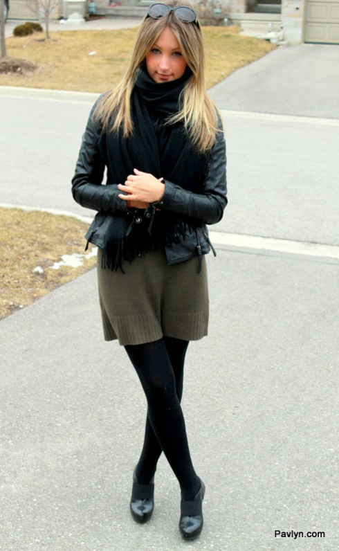 Danier black leather jacket and black scarf