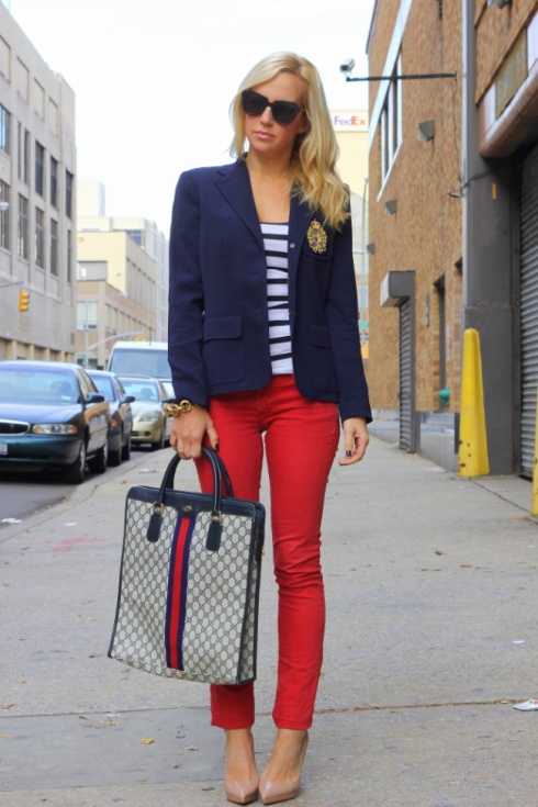 The nautical look - bright red skinny jeans and a navy blue blazer