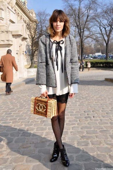 Alexa Chung in Chanel with straw bag