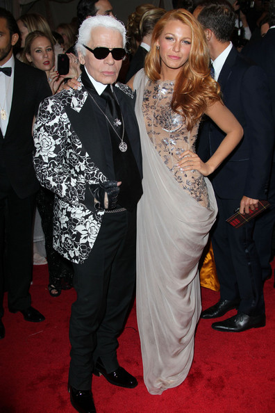 Blake Lively and Karl Lagerfeld in Chanel Gown
