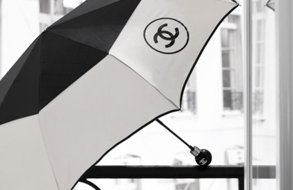 Chanel two tone black and white umbrella