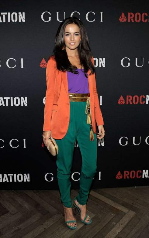 Camilla Belle color blocking in Gucci