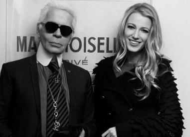 Karl Lagerfeld and Blake Lively in Chanel