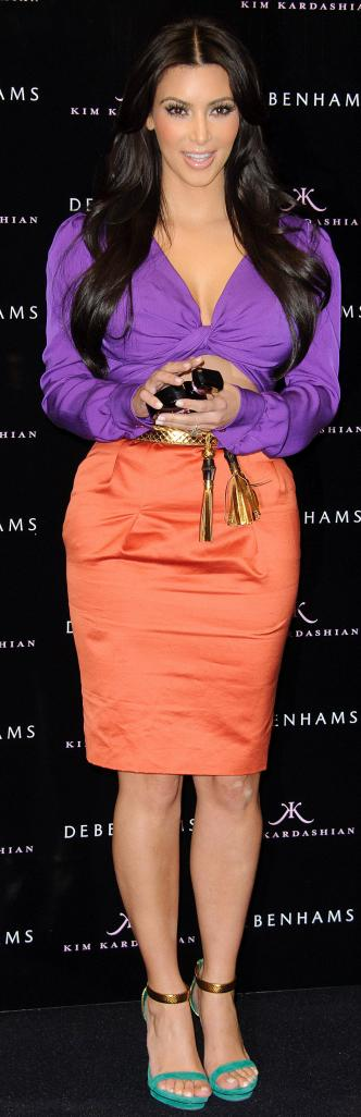 Kim Kardashian Color-blocking in orange skirt and purple top Gucci