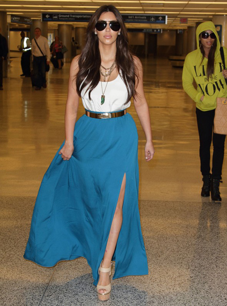 Kim Kardashian in blue maxi skirt