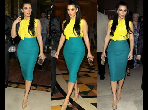 Kim Kardashian colour blocking in green skirt and yellow top
