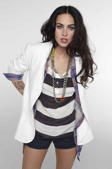 Megan Fox white blazer and stripped shirt