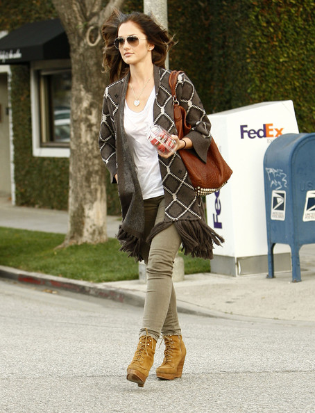 Minka Kelly wearing Lace Up Wedge Ankle Boots