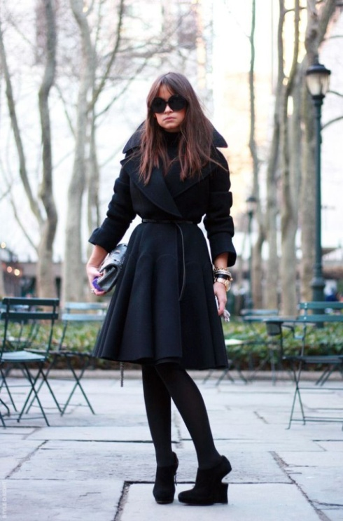 Miroslava Duma winter chic in long jacket
