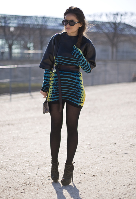 Mroslava Duma in black heels and leggings