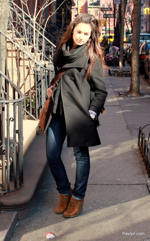 NYC street style in black wool coat and wedge booties