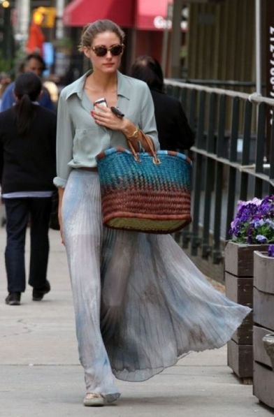Olivia Palermo in a sheer maxi skirt