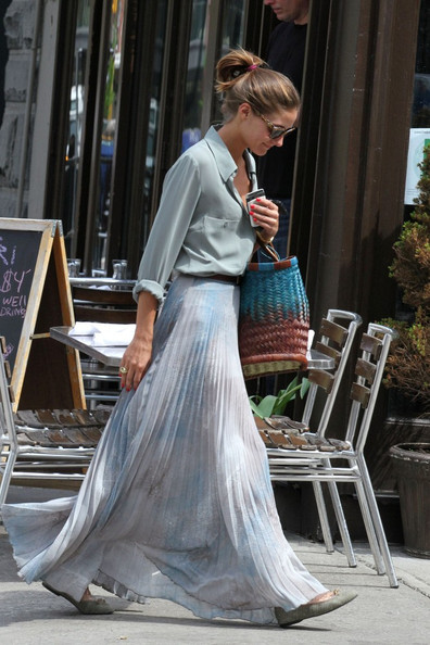 Olivia Palermo in a sheer maxi dress