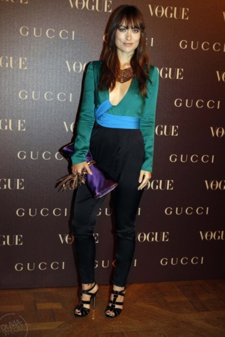 olivia wilde colour blocking in gucci blue and turquoise top