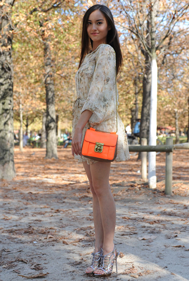 Neon orange bag street style