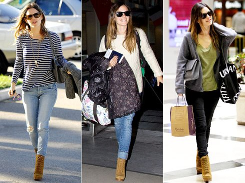 Rachel Bilson wearing oxford lace up booties