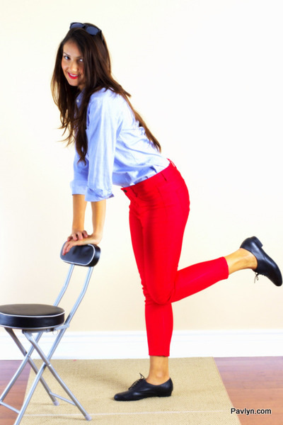 Red skinny jeans by Joe Fresh with Blue shirt and oxford flats