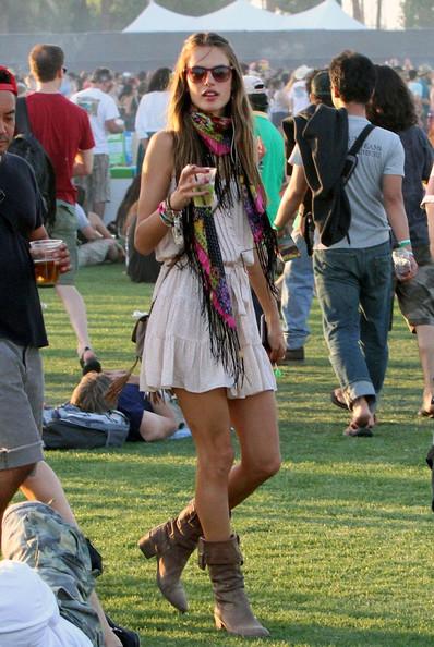 Alessanda Ambrosio boho chic style at Coachella 2011