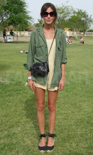 Alexa Chung looking army chic at Coachella music festival 2012