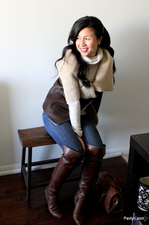 Casual Style with Sherling Vest and Riding Boots