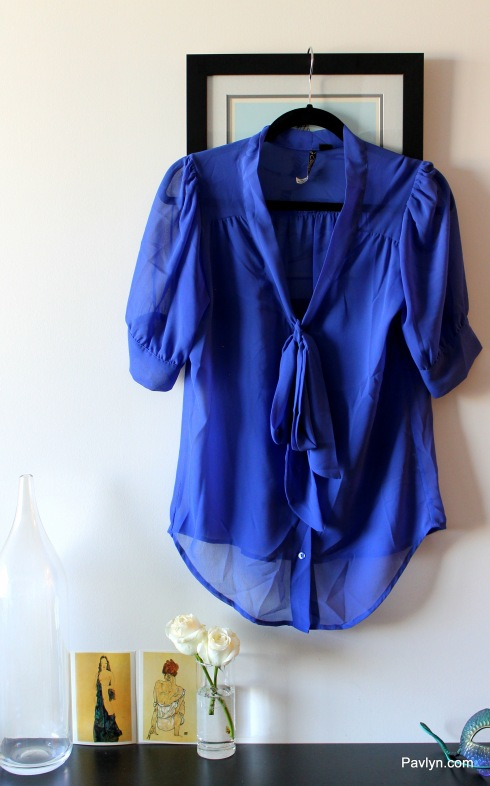 Blue silk blouse Zara
