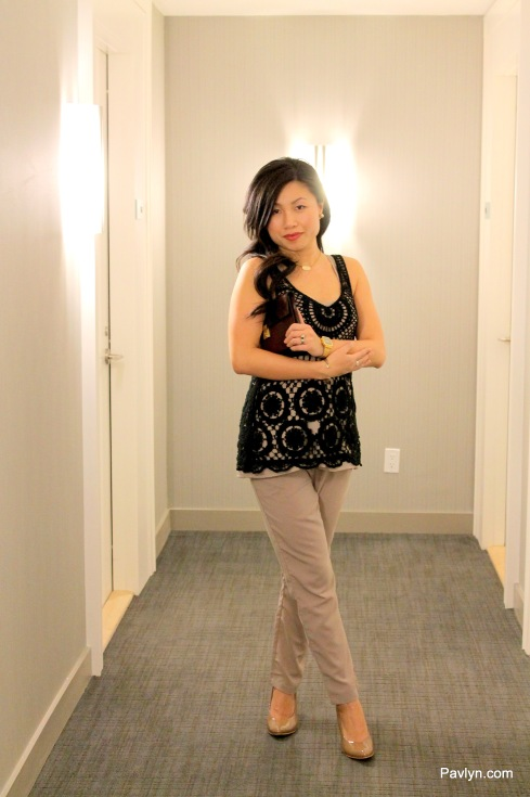 Sweet Romantic Look with Black Crochet top with Mauve Pants