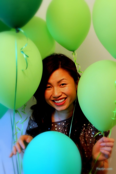 Party Girl Look with Green Balloons