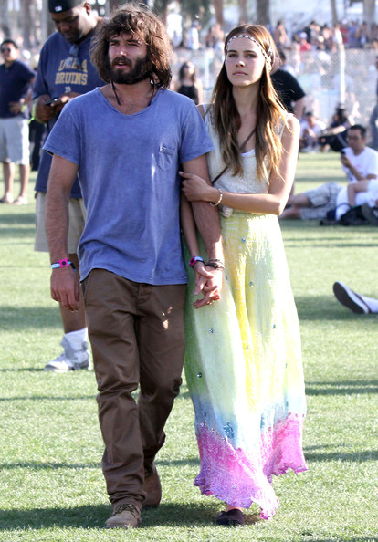 Isabel Lucas in boho-chic maxi skirt at Coachella 2011 music festival