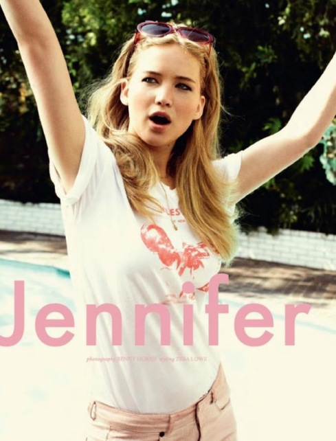 Jennifer Lawrence in pink jeans in ASOS Magazine- Summer 2012 issue
