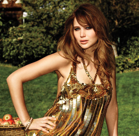 Jennifer Lawrence wearing a gold top on Glamour Magazine Cover April 2012