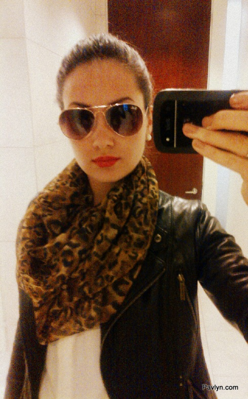 Leopard Scarf with Leather Jacket and RayBan Aviators