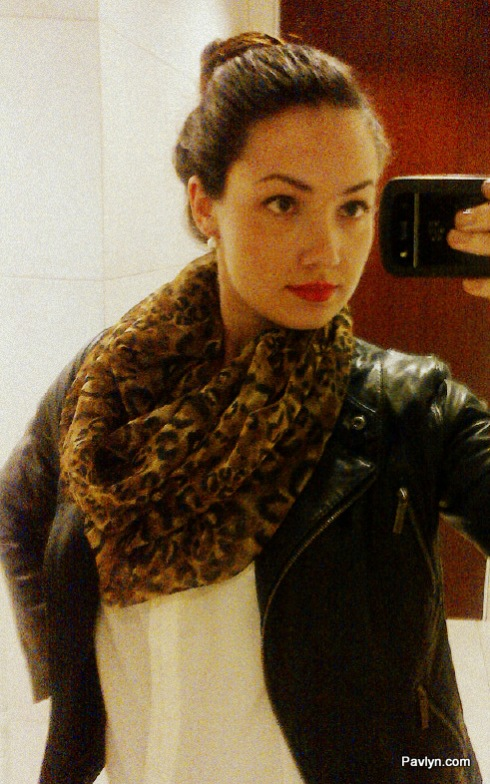 Leopard Scarf with Red Lips
