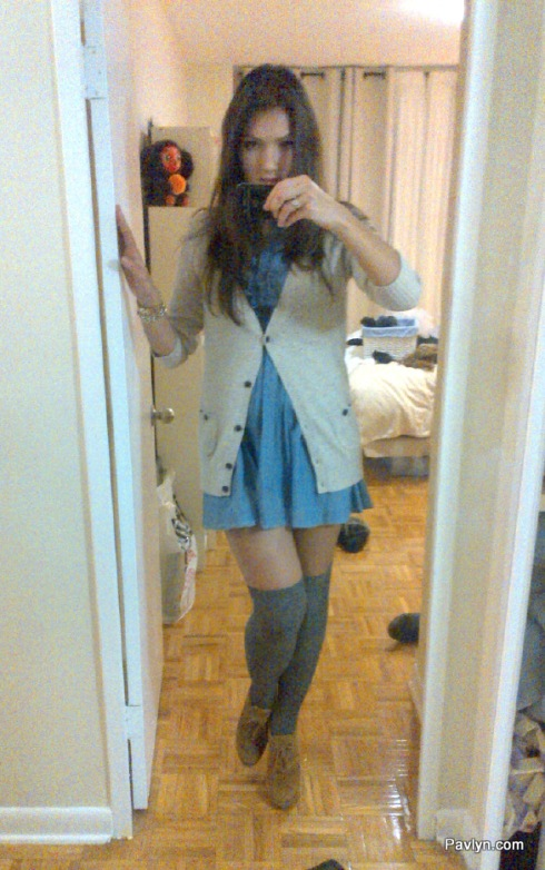 Romantic Look with Stockings and Dress