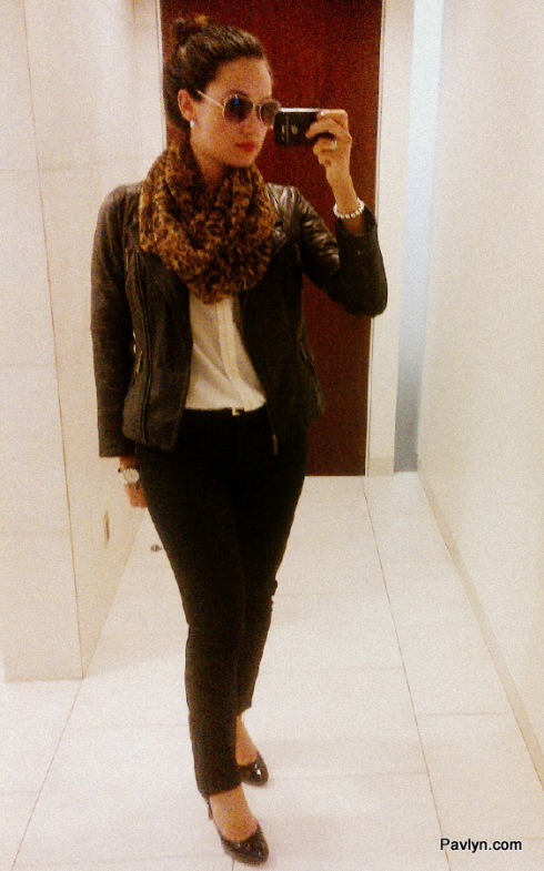 Women's work outfit with leopard scarf and leather jacket