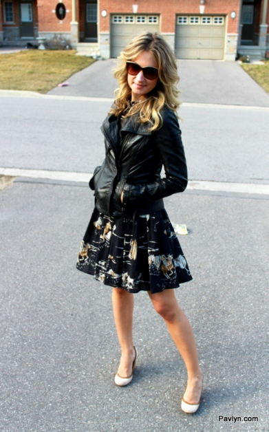 Zara Dress with black leather jacket