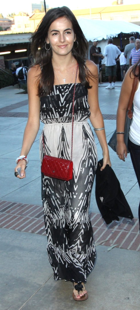 Camilla Belle wearing white and black tribal maxi dress from Express