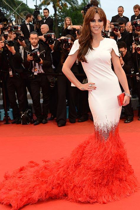Cheryl Cole at Cannes film festival 2012 in feathered red trim dress by Stephanie Rolland