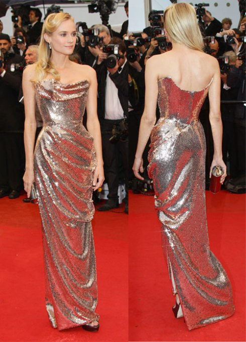 Diane Kruger wearing sequenced gown by Vivienne Westwood at Cannes film festival
