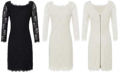 Diane von FURSTENBERG Zarita Lace Dress Black and White