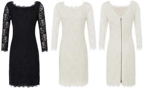 Diane von FURSTENBERG Zarita Lace Dress Black and White